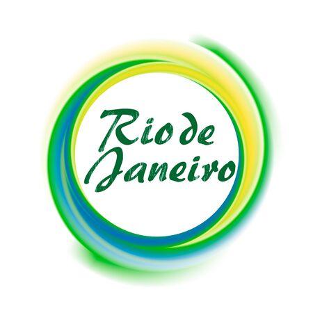Rio de Janeiro Brazil sign or symbol with Brazilian flag colors,