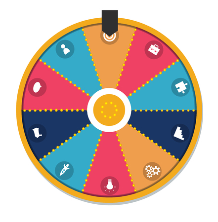 Lucky wheel, close up, illustration. Isolated on white background. With business icons set.