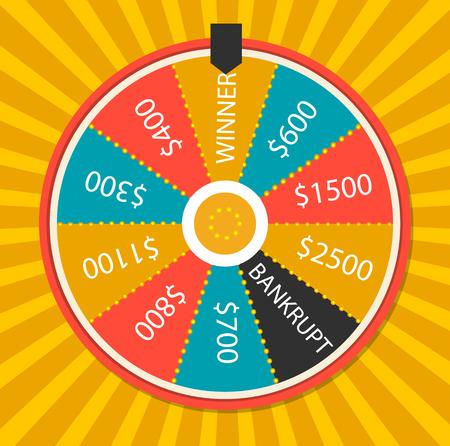 Wheel of luck, close up,  illustration. On yellow background Illustration