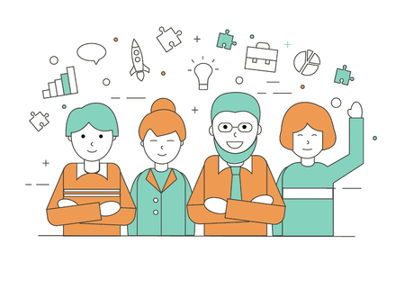 Business team at the office in linear style,  illustration