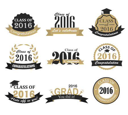 Graduation 2016 badges, signs and symbols with graduation hat and text in retro style,  illustration. Congratulation to graduates of 2016 year.