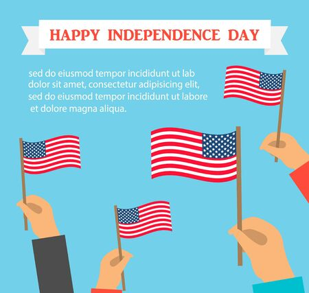 Happy US independence day card or background. Human hands holding american flags
