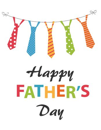 Happy Fathers Day card design with hanging ties
