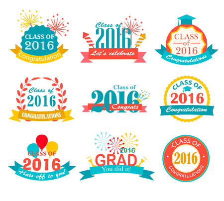 Bright graduation 2016 badges, signs and symbols with graduation