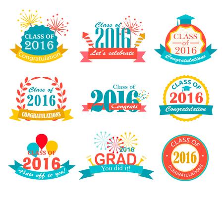 Bright graduation 2016 badges, signs and symbols with graduation