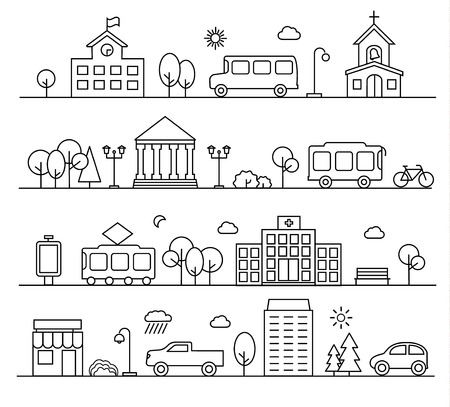 City landscapes set in linear style. With buildings, city transport