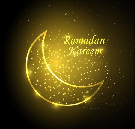 light gold moon and sparkles card for Ramadan Kareem celebration