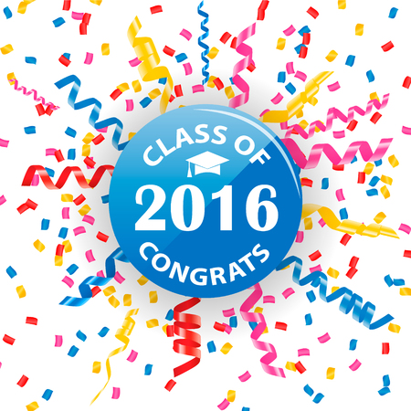 Congratulation to graduates of 2016 year sign or symbol with confetti and streamers