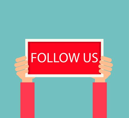 Human hands holding plate with Follow us sign,  illustration