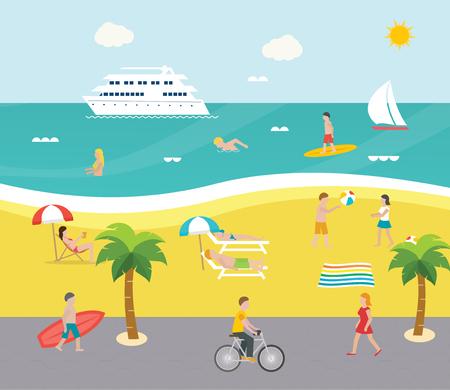 Openluchtscène op strand met mensen die in het overzees zwemmen, die, zonnebaden surfen, die met strandbal spelen, illustratie. Dijk met wandelvakantiegangers