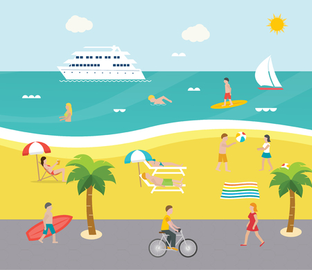 Outdoor scene on beach with people swimming in the sea, surfing, sunbathing, playing with beach ball,  illustration. Embankment with walking holidaymakers Illustration