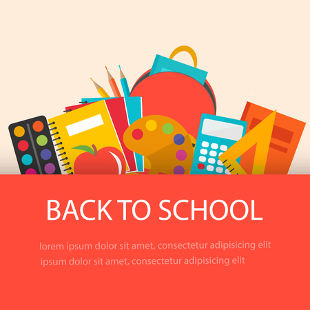 Back to school concept, flat design. School  supplies  backgroun