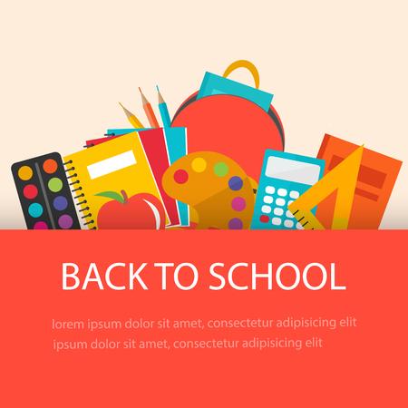 Back to school concept, flat design. School  supplies  backgroun