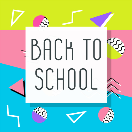 Back to school sign or symbol in memphis  retro style, 80s.