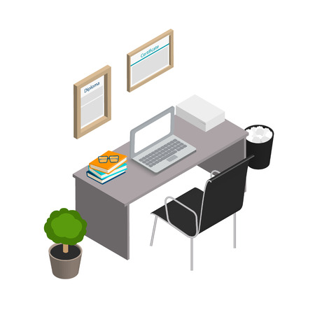 Isometric office interior. Modern workplace design