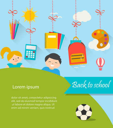 Back to school background with hanging supplies set, children, c