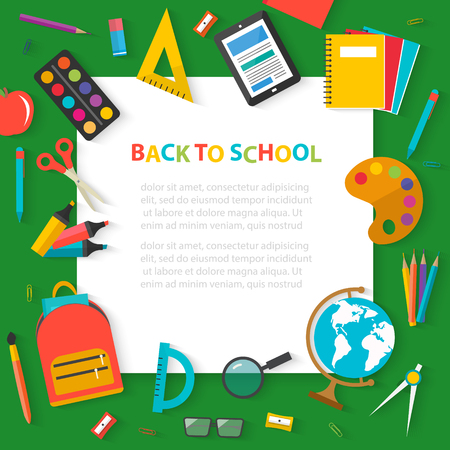 Back to school concept banner with flat sticker icons and white background.