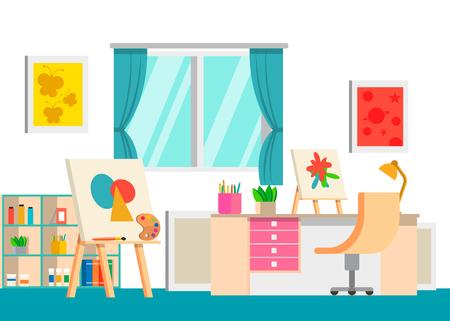 Art studio design interior, vector illustration. Art work space Illustration