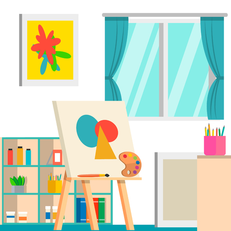 Art studio design interior, vector illustration. Art work space Ilustrace