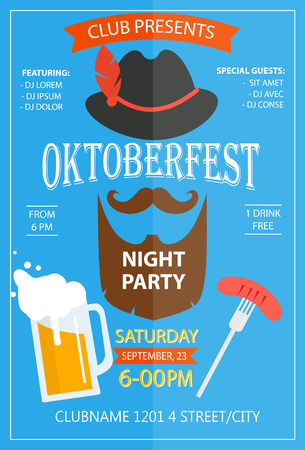 Oktoberfest night party invitation flyer design template