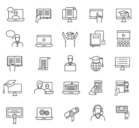 Online education and learning line icons set. Study online web