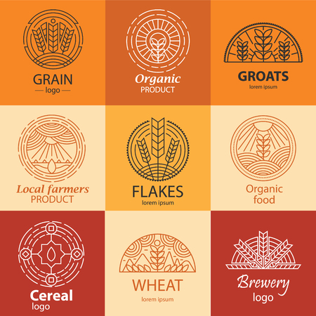 Line grain, groats, cereal logo and signs set. Local farmers product, organic product symbols in linear style. Can be used for bread, brewry branding, ads, etc. Illustration