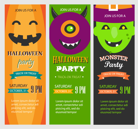 Halloween party invitations, vertical banners set, vector illust Ilustrace