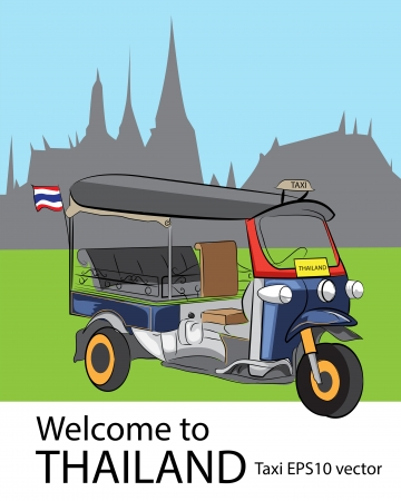 Tuk Tuk car and temple in Bangkok, Thailand Vector