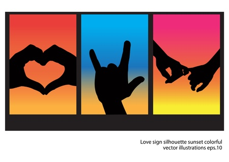 love shape hand silhouette in sunset   Ilustração