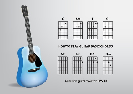 chord:  Acoustic guitar and chord Illustration