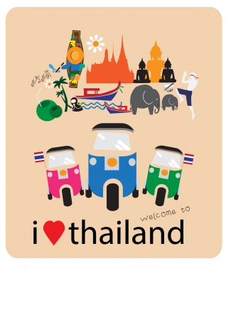 thai: Tuk Tuk auto d'amore - cuore con le icone thai e simboli
