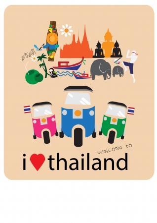 Amor Tuk Tuk coche - corazón con los iconos y símbolos tailandeses