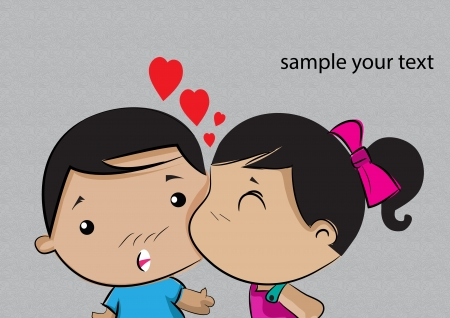 kissing children vector eps10 Vector