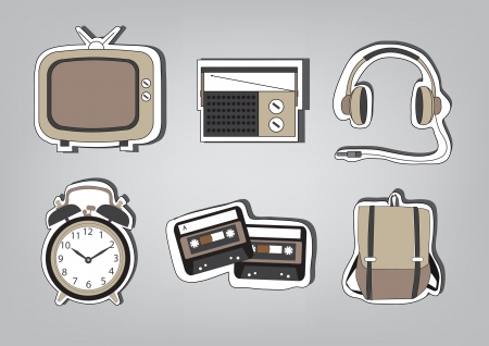 Retro Icon Set Vector