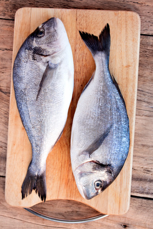 gilthead bream: Two fresh gilt-head bream fish on cutting board on wooden  Stock Photo