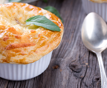 Chicken pot pie with cheese and basil