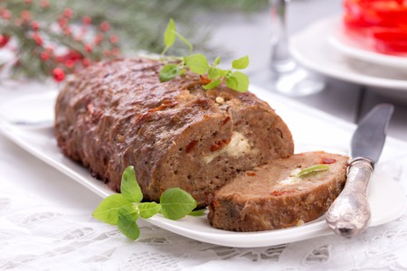 sliced homemade meatloaf made from pork and lean ground beef. Stock fotó