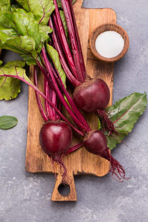 Bunch of fresh beetroots with leaves