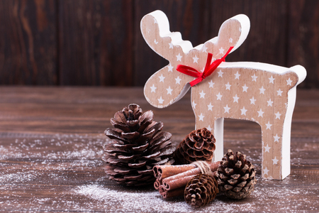 Christmas decoration. Christmas handmade toys on a wooden background