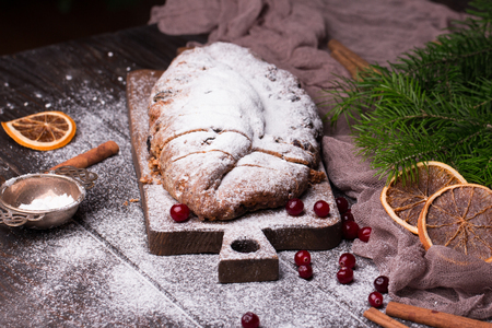 Christmas Cake. Stollen with Marzipan, Berries and Nuts. Stock fotó