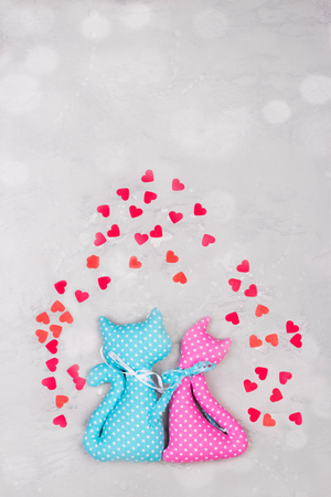 Two handmade toys. Concept of St. Valentines card