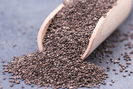 Chia seeds in scoop on grey stone background Stock fotó