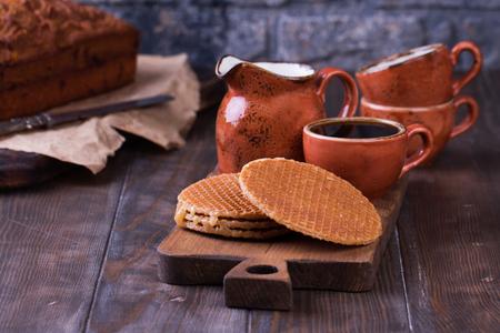 Stroopwafels or Dutch Waffles with caramel.
