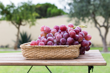 Bunch black grapes on old wooden table