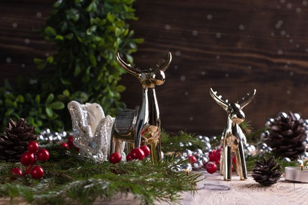 Christmas decoration on wooden