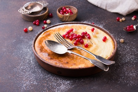 Cottage cheese casserole baked with red currant.