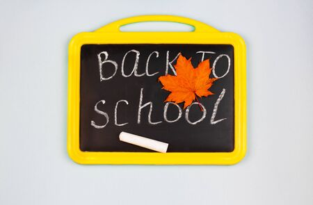 Back to school written on chalkboard witch chalk and autumn leaf. School concept.