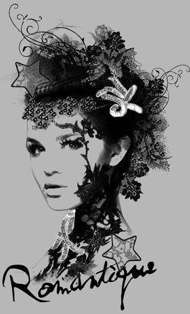 romantique girl face illustration Illustration