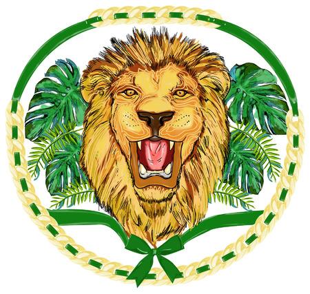 lion roar: lion face illustration Illustration