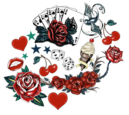 flower heart: tattoo flower heart bird set Illustration